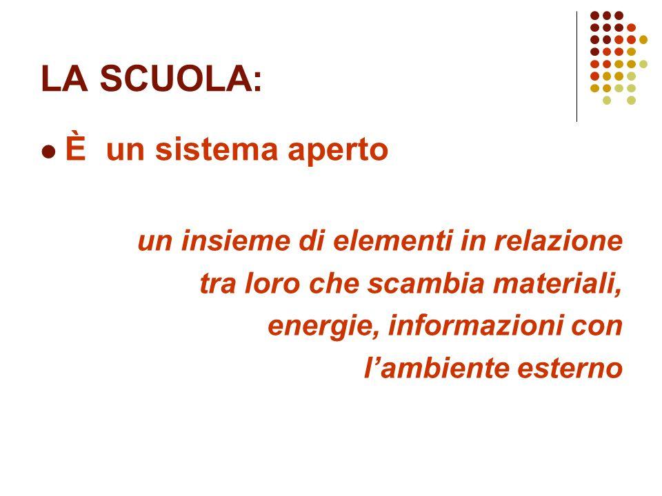 LA SCUOLA: È un sistema aperto un insieme di elementi in relazione tra loro che scambia materiali, energie, informazioni con lambiente esterno