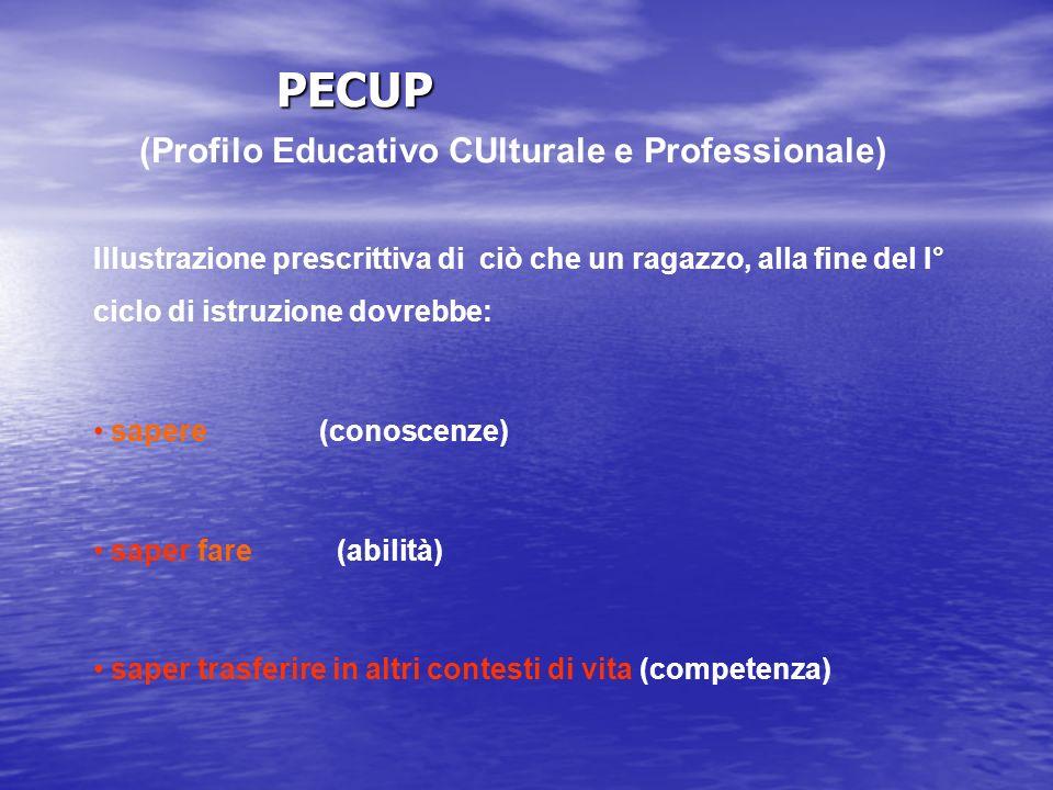 PECUP (Profilo Educativo CUlturale e Professionale) Illustrazione prescrittiva di ciò che un ragazzo, alla fine del I° ciclo di istruzione dovrebbe: s