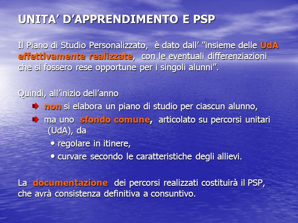UNITA DAPPRENDIMENTO E PSP Il Piano di Studio Personalizzato, è dato dall insieme delle UdA effettivamente realizzate, con le eventuali differenziazio