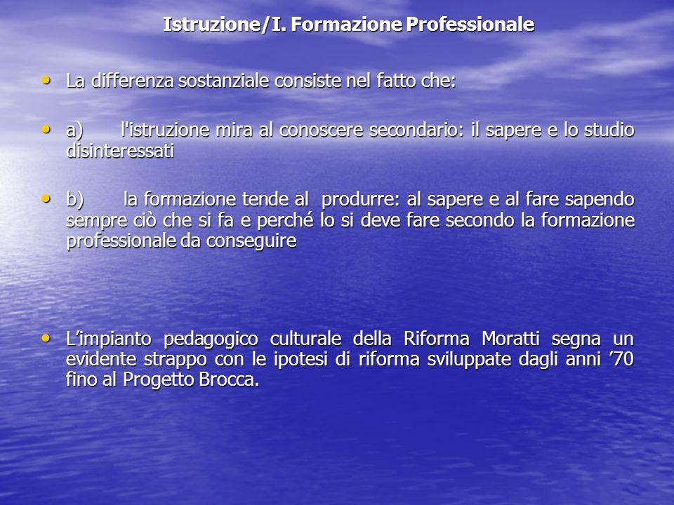 Istruzione/I. Formazione Professionale La differenza sostanziale consiste nel fatto che: La differenza sostanziale consiste nel fatto che: a) l'istruz