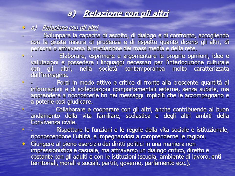 a) Relazione con gli altri a) Relazione con gli altri a) Relazione con gli altri - Sviluppare la capacità di ascolto, di dialogo e di confronto, accog
