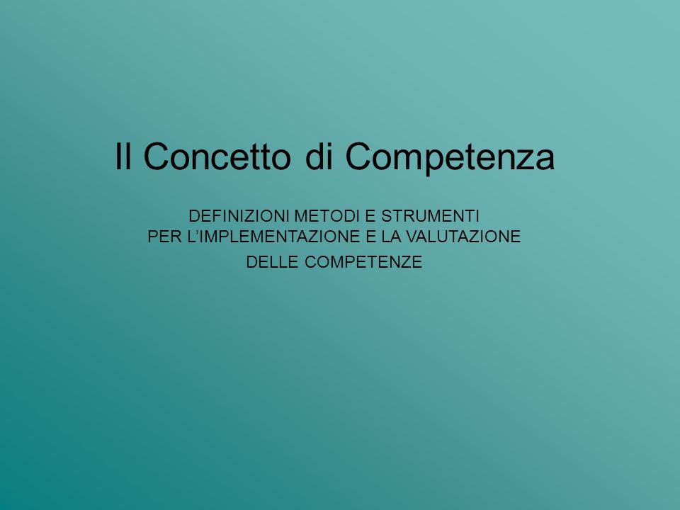 Il Concetto di Competenza DEFINIZIONI METODI E STRUMENTI PER LIMPLEMENTAZIONE E LA VALUTAZIONE DELLE COMPETENZE