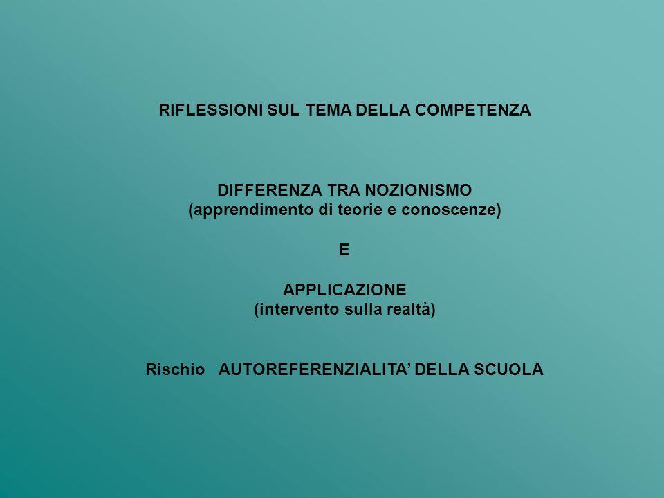 RIFLESSIONI SUL TEMA DELLA COMPETENZA DIFFERENZA TRA NOZIONISMO (apprendimento di teorie e conoscenze) E APPLICAZIONE (intervento sulla realtà) Rischio AUTOREFERENZIALITA DELLA SCUOLA