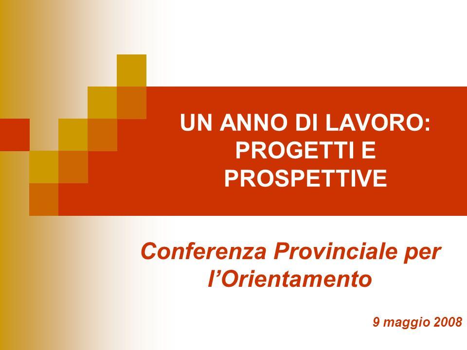 UN ANNO DI LAVORO: PROGETTI E PROSPETTIVE Conferenza Provinciale per lOrientamento 9 maggio 2008