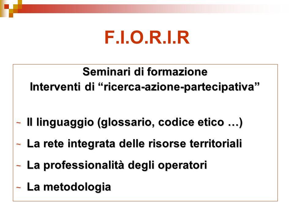 F.I.O.R.I.R Seminari di formazione Interventi di ricerca-azione-partecipativa ~ Il linguaggio (glossario, codice etico …) ~ La rete integrata delle risorse territoriali ~ La professionalità degli operatori ~ La metodologia