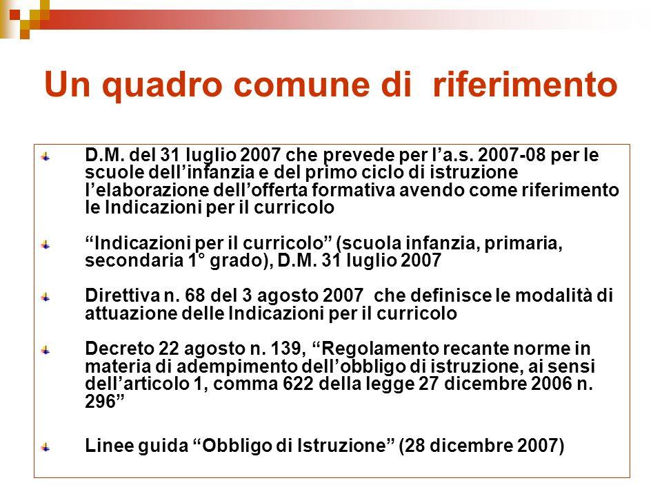 Un quadro comune di riferimento D.M. del 31 luglio 2007 che prevede per la.s.