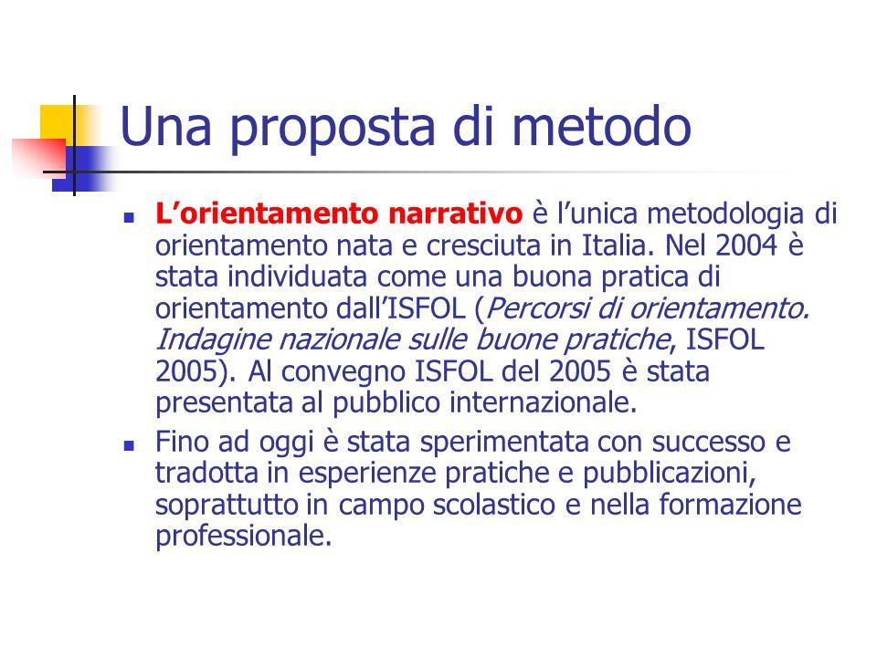 Una proposta di metodo Lorientamento narrativo è lunica metodologia di orientamento nata e cresciuta in Italia. Nel 2004 è stata individuata come una