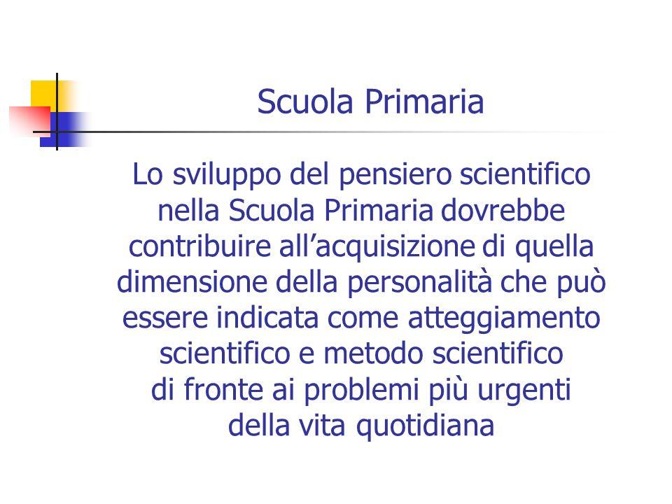 Scuola Primaria Lo sviluppo del pensiero scientifico nella Scuola Primaria dovrebbe contribuire allacquisizione di quella dimensione della personalità