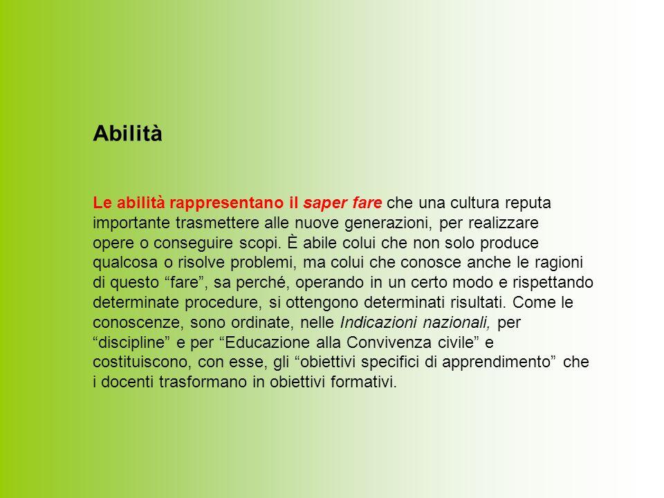 Abilità Le abilità rappresentano il saper fare che una cultura reputa importante trasmettere alle nuove generazioni, per realizzare opere o conseguire scopi.