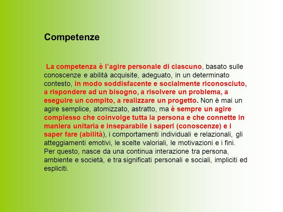 Competenze La competenza è lagire personale di ciascuno, basato sulle conoscenze e abilità acquisite, adeguato, in un determinato contesto, in modo soddisfacente e socialmente riconosciuto, a rispondere ad un bisogno, a risolvere un problema, a eseguire un compito, a realizzare un progetto.