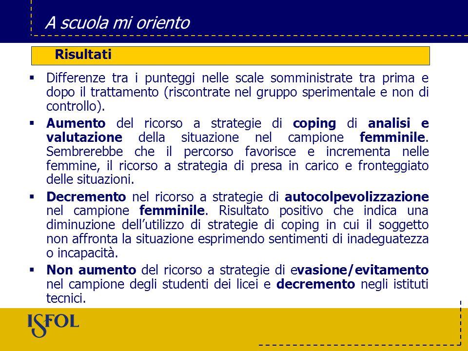 A scuola mi oriento 12 prime classi (258 SS) di 6 Istituti Superiori di Roma e Provincia (126 gruppo sperimentale; 132 gruppo di controllo). 20 insegn