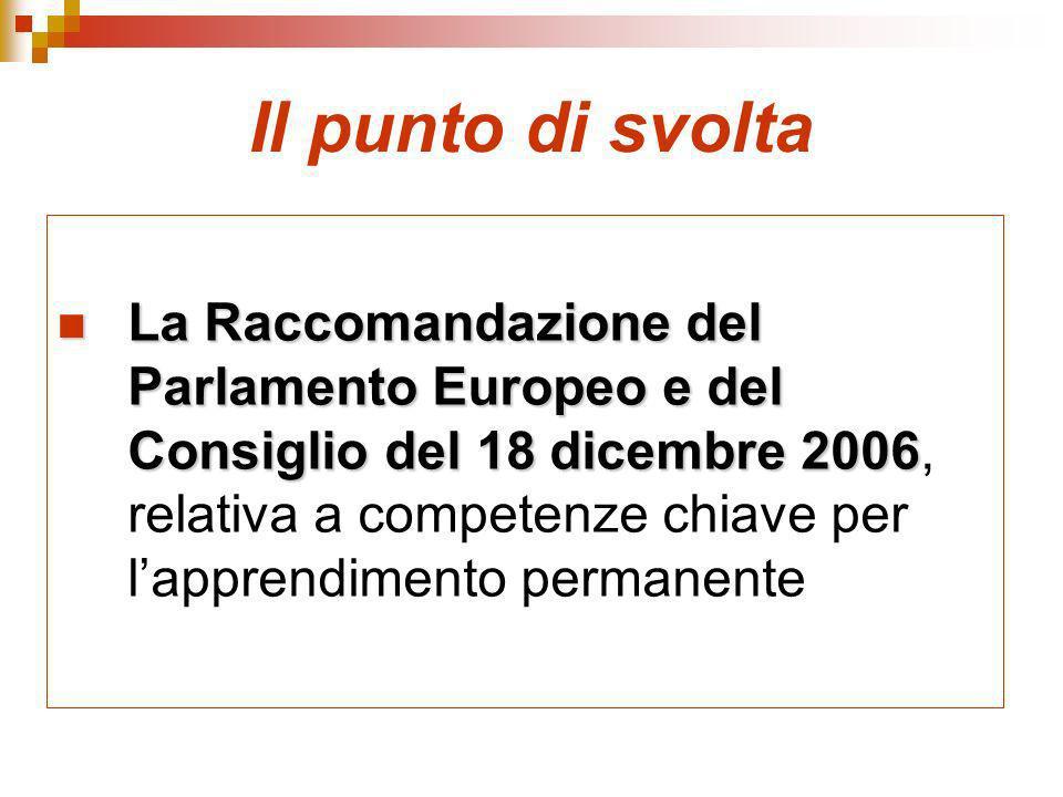 Il punto di svolta La Raccomandazione del Parlamento Europeo e del Consiglio del 18 dicembre 2006 La Raccomandazione del Parlamento Europeo e del Consiglio del 18 dicembre 2006, relativa a competenze chiave per lapprendimento permanente
