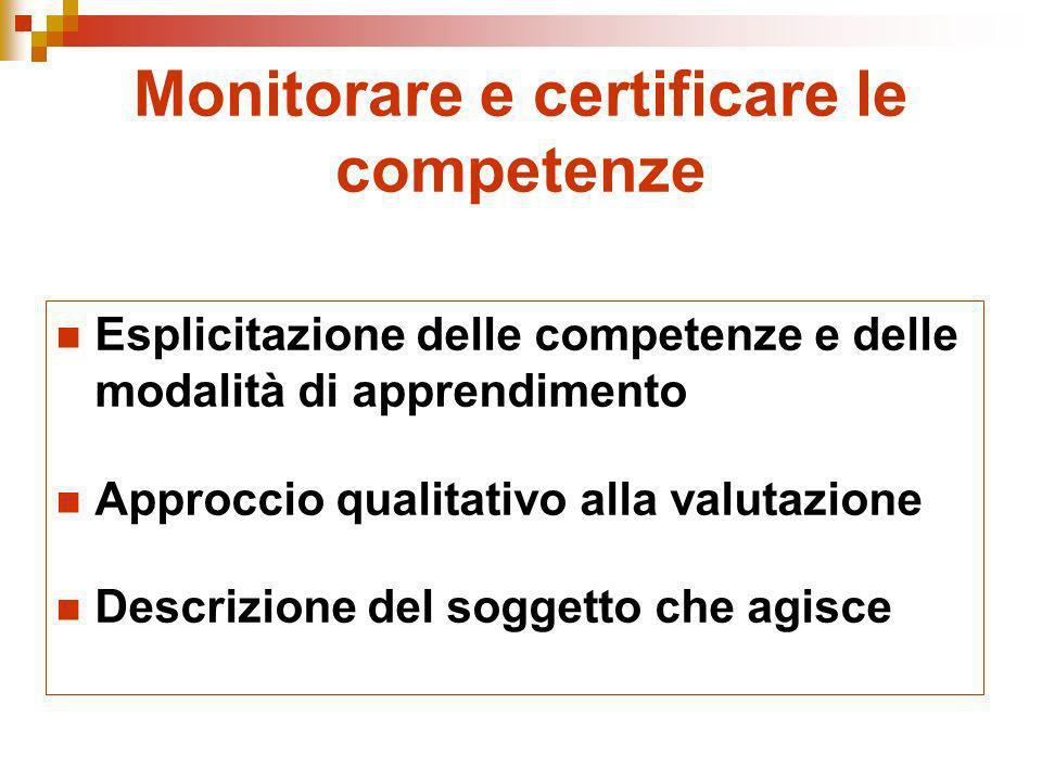 Monitorare e certificare le competenze Esplicitazione delle competenze e delle modalità di apprendimento Approccio qualitativo alla valutazione Descri