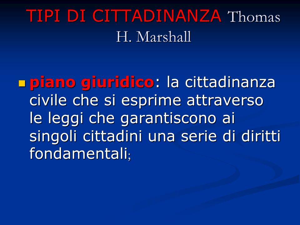 TIPI DI CITTADINANZA Thomas H. Marshall piano giuridico: la cittadinanza civile che si esprime attraverso le leggi che garantiscono ai singoli cittadi