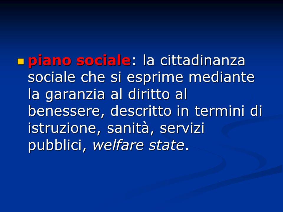 piano sociale: la cittadinanza sociale che si esprime mediante la garanzia al diritto al benessere, descritto in termini di istruzione, sanità, serviz