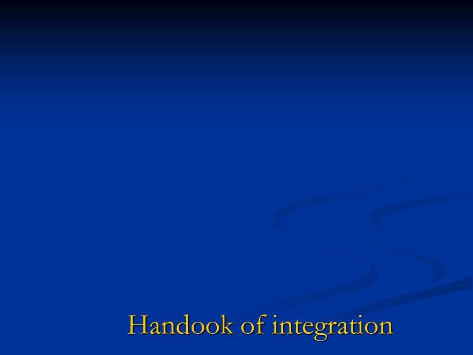 Handook of integration