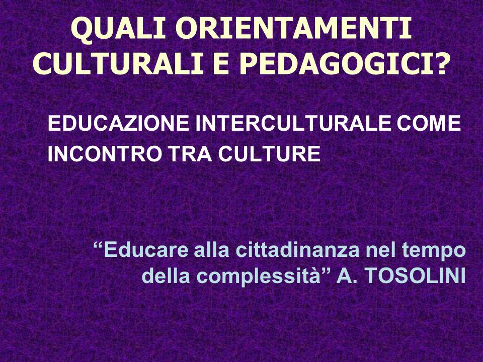QUALI ORIENTAMENTI CULTURALI E PEDAGOGICI? EDUCAZIONE INTERCULTURALE COME INCONTRO TRA CULTURE Educare alla cittadinanza nel tempo della complessità A