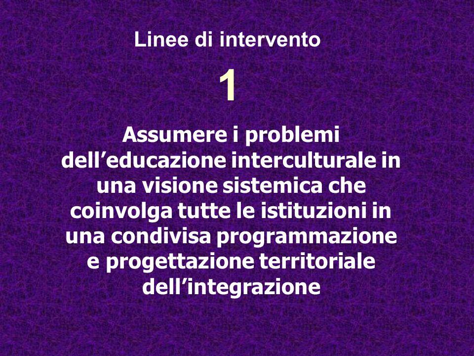 1 Assumere i problemi delleducazione interculturale in una visione sistemica che coinvolga tutte le istituzioni in una condivisa programmazione e prog