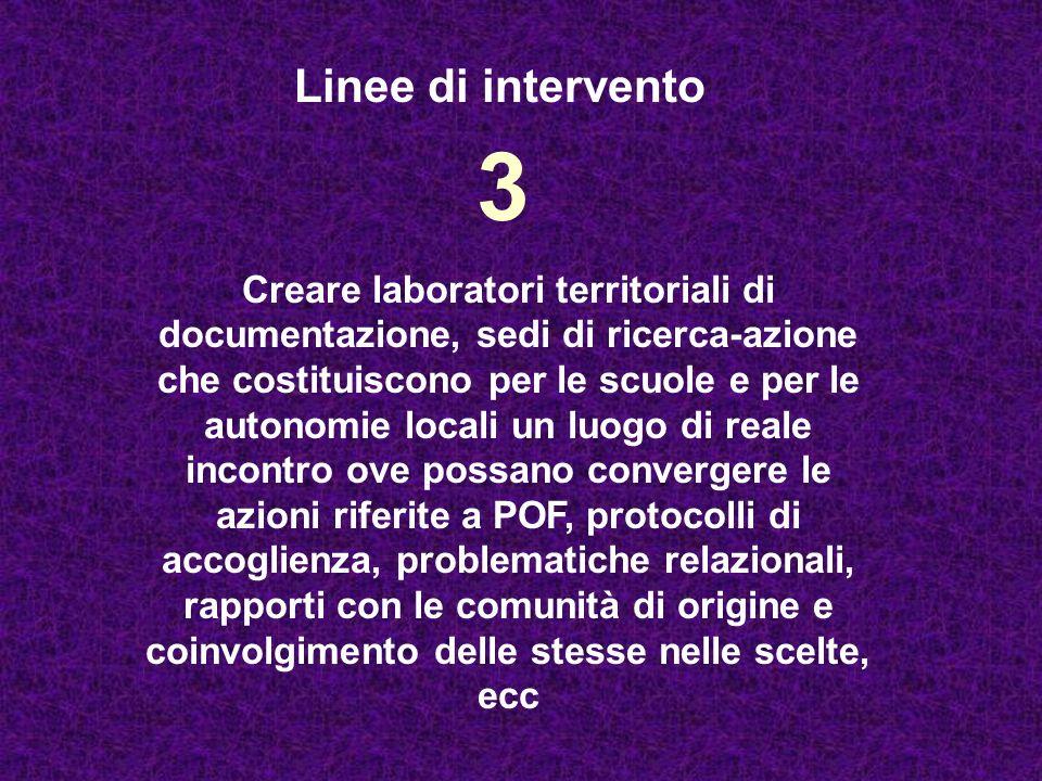 3 Creare laboratori territoriali di documentazione, sedi di ricerca-azione che costituiscono per le scuole e per le autonomie locali un luogo di reale