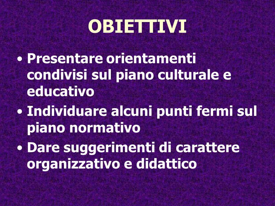 OBIETTIVI Presentare orientamenti condivisi sul piano culturale e educativo Individuare alcuni punti fermi sul piano normativo Dare suggerimenti di ca