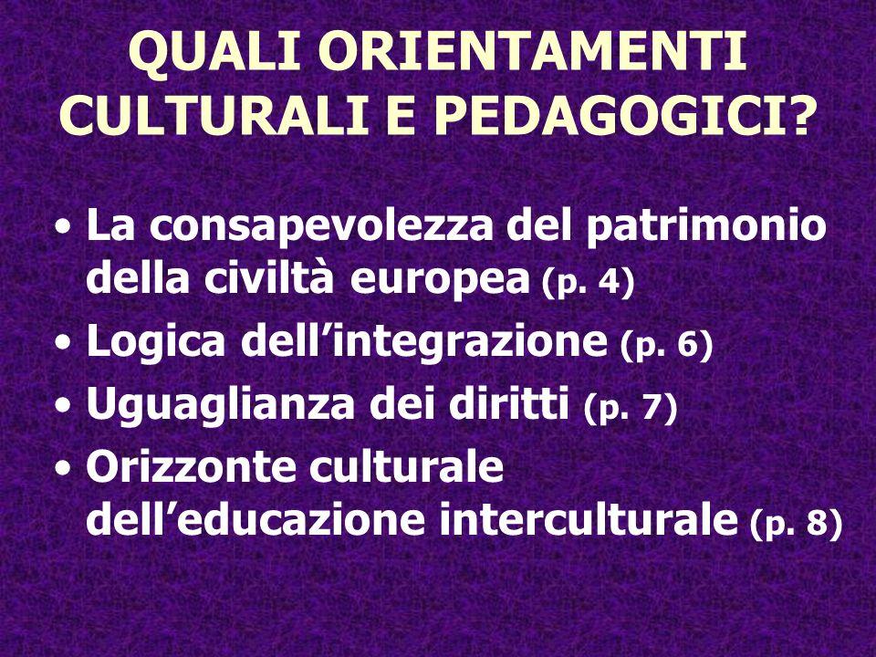 QUALI ORIENTAMENTI CULTURALI E PEDAGOGICI? La consapevolezza del patrimonio della civiltà europea (p. 4) Logica dellintegrazione (p. 6) Uguaglianza de