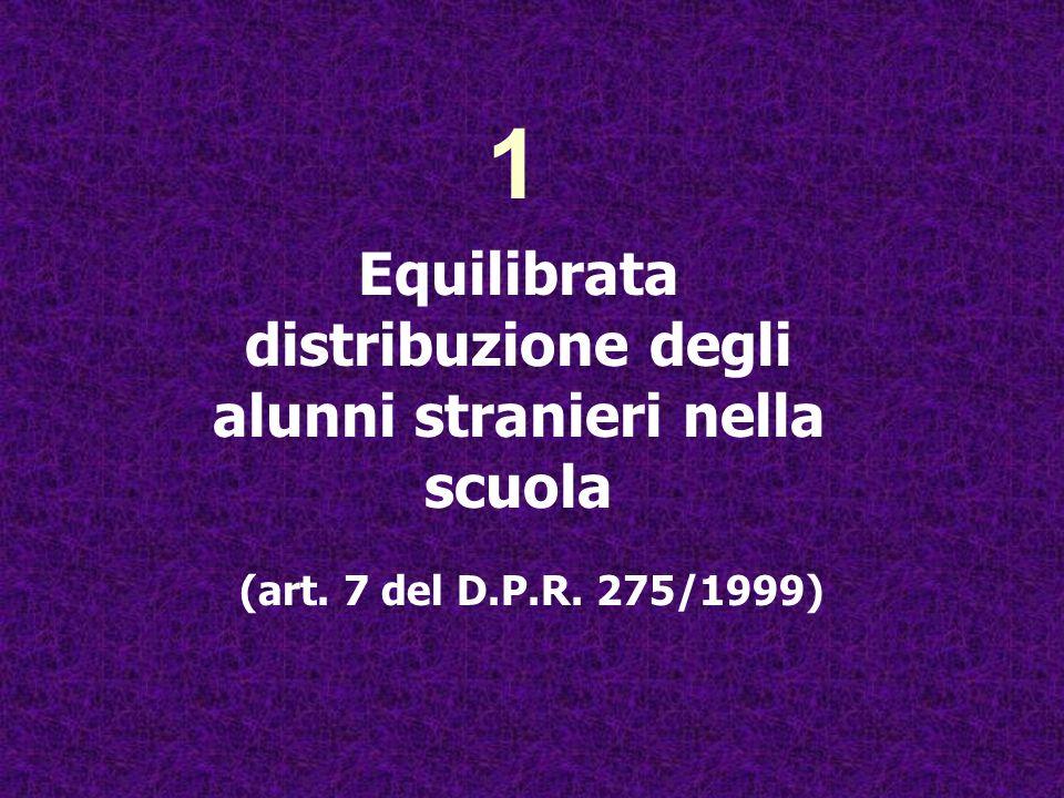 (art. 7 del D.P.R. 275/1999) 1 Equilibrata distribuzione degli alunni stranieri nella scuola