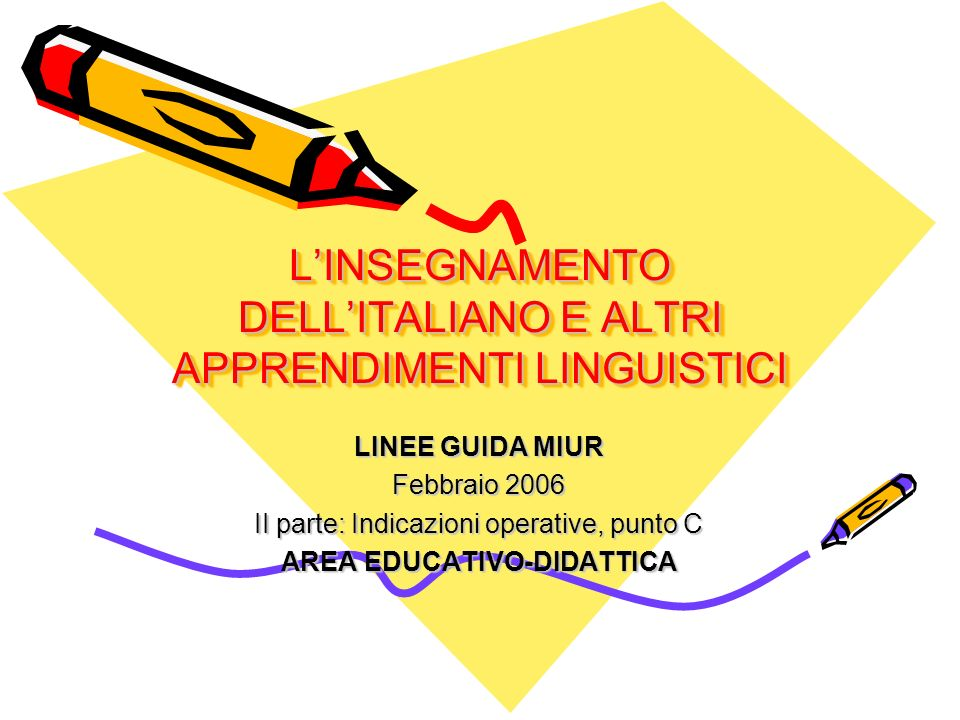 LINSEGNAMENTO DELLITALIANO E ALTRI APPRENDIMENTI LINGUISTICI LINEE GUIDA MIUR Febbraio 2006 II parte: Indicazioni operative, punto C AREA EDUCATIVO-DIDATTICA