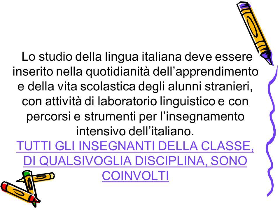 Lo studio della lingua italiana deve essere inserito nella quotidianità dellapprendimento e della vita scolastica degli alunni stranieri, con attività di laboratorio linguistico e con percorsi e strumenti per linsegnamento intensivo dellitaliano.