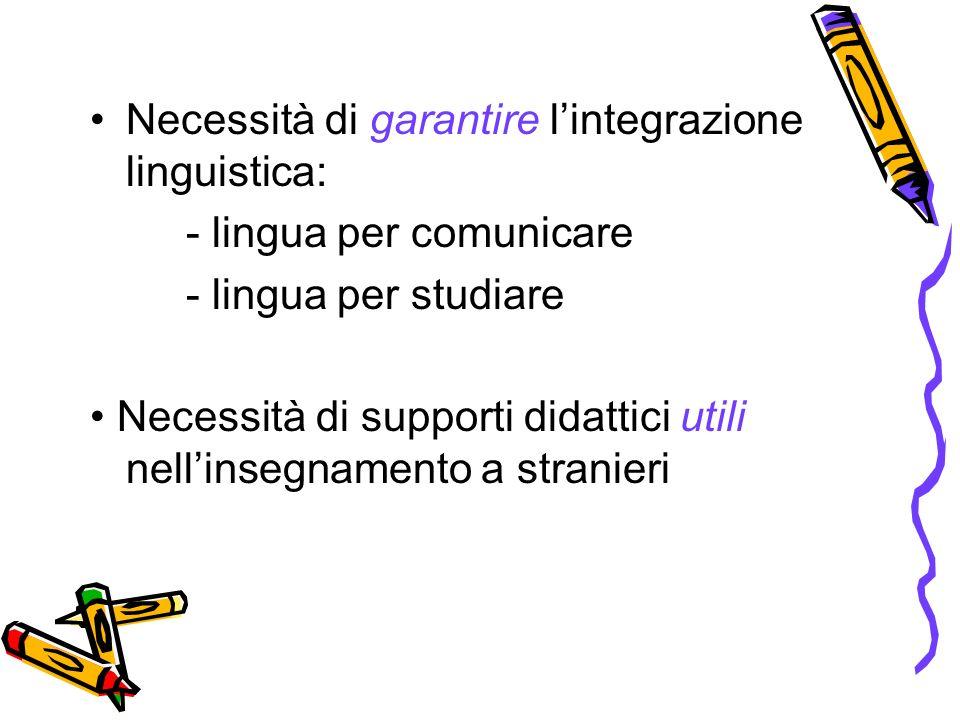 Necessità di garantire lintegrazione linguistica: - lingua per comunicare - lingua per studiare Necessità di supporti didattici utili nellinsegnamento a stranieri