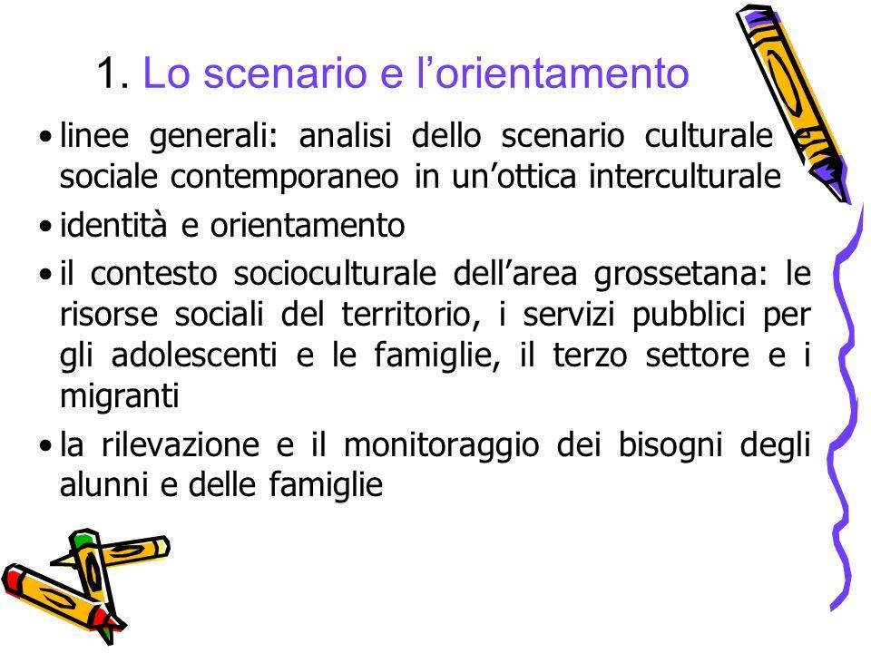 1. Lo scenario e lorientamento linee generali: analisi dello scenario culturale e sociale contemporaneo in unottica interculturale identità e orientam