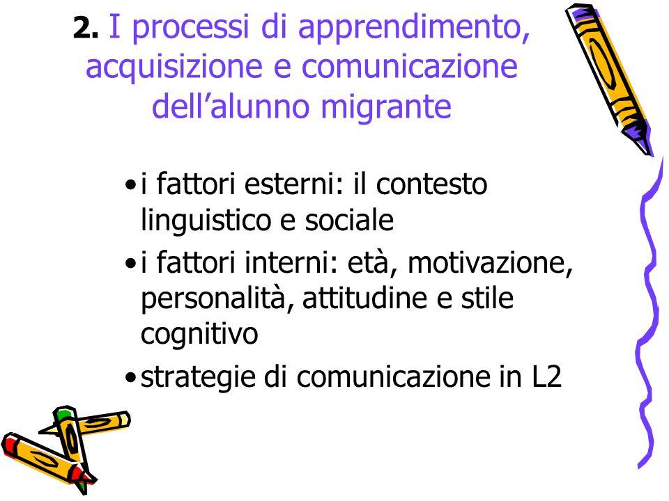 2. I processi di apprendimento, acquisizione e comunicazione dellalunno migrante i fattori esterni: il contesto linguistico e sociale i fattori intern