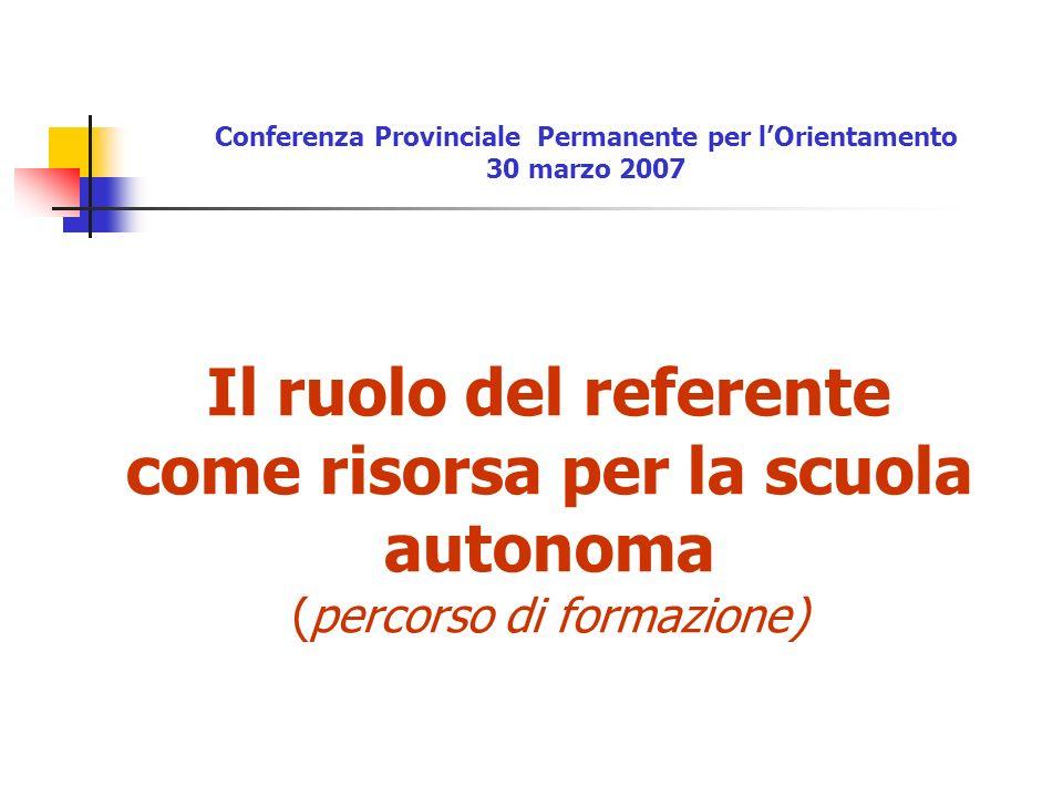 Il ruolo del referente come risorsa per la scuola autonoma (percorso di formazione) Conferenza Provinciale Permanente per lOrientamento 30 marzo 2007