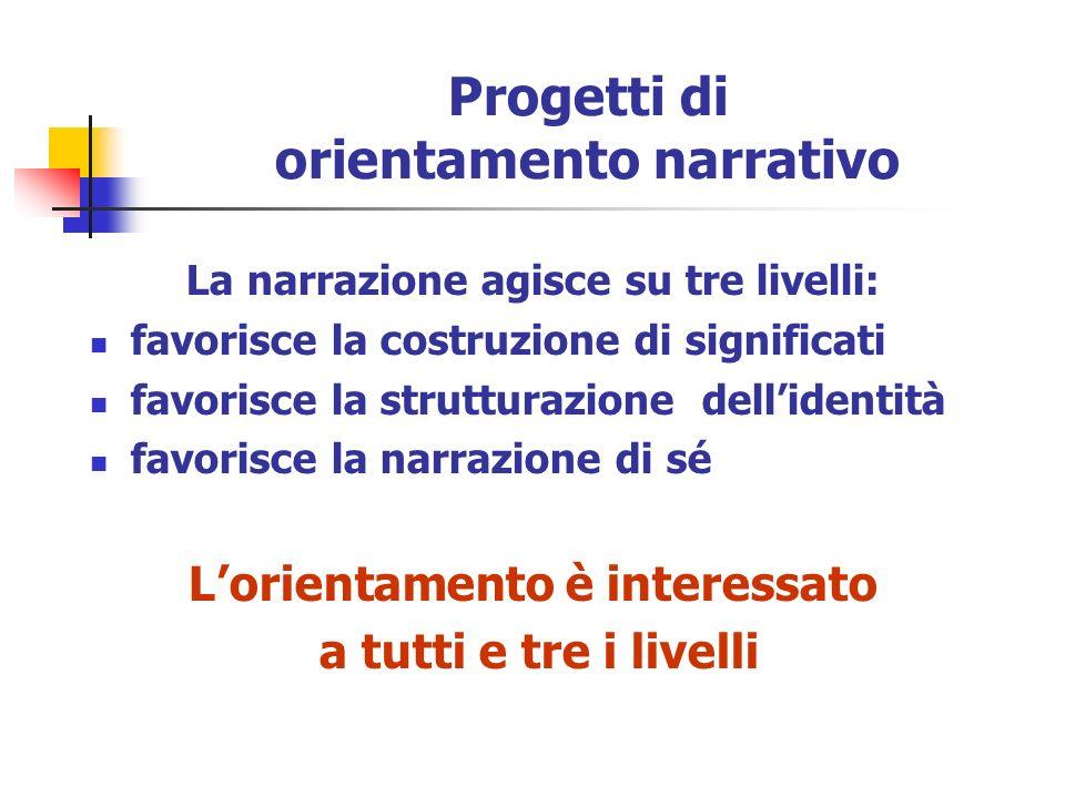 Progetti di orientamento narrativo La narrazione agisce su tre livelli: favorisce la costruzione di significati favorisce la strutturazione dellidentità favorisce la narrazione di sé Lorientamento è interessato a tutti e tre i livelli
