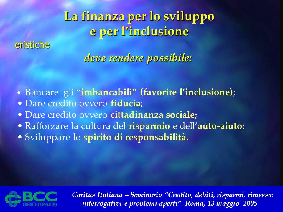 Caritas Italiana – Seminario Credito, debiti, risparmi, rimesse: interrogativi e problemi aperti. Roma, 13 maggio 2005 Bancare gli imbancabili (favori