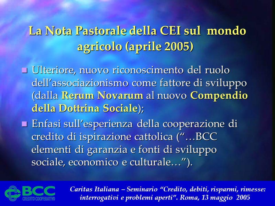 Caritas Italiana – Seminario Credito, debiti, risparmi, rimesse: interrogativi e problemi aperti. Roma, 13 maggio 2005 La Nota Pastorale della CEI sul