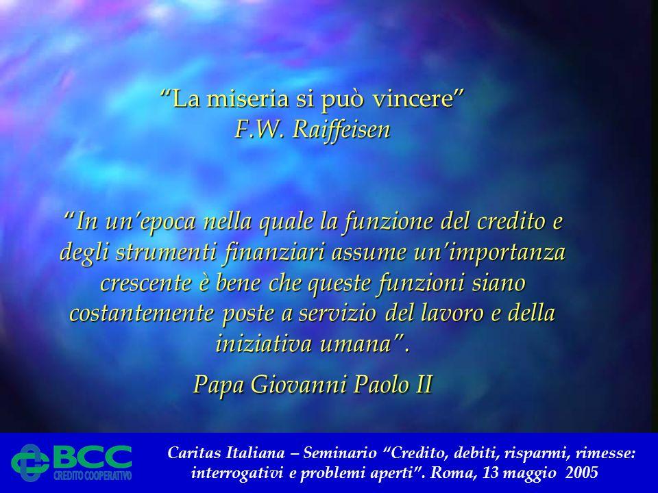 Caritas Italiana – Seminario Credito, debiti, risparmi, rimesse: interrogativi e problemi aperti. Roma, 13 maggio 2005 La miseria si può vincere F.W.