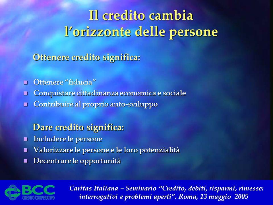 Caritas Italiana – Seminario Credito, debiti, risparmi, rimesse: interrogativi e problemi aperti. Roma, 13 maggio 2005 Il credito cambia lorizzonte de