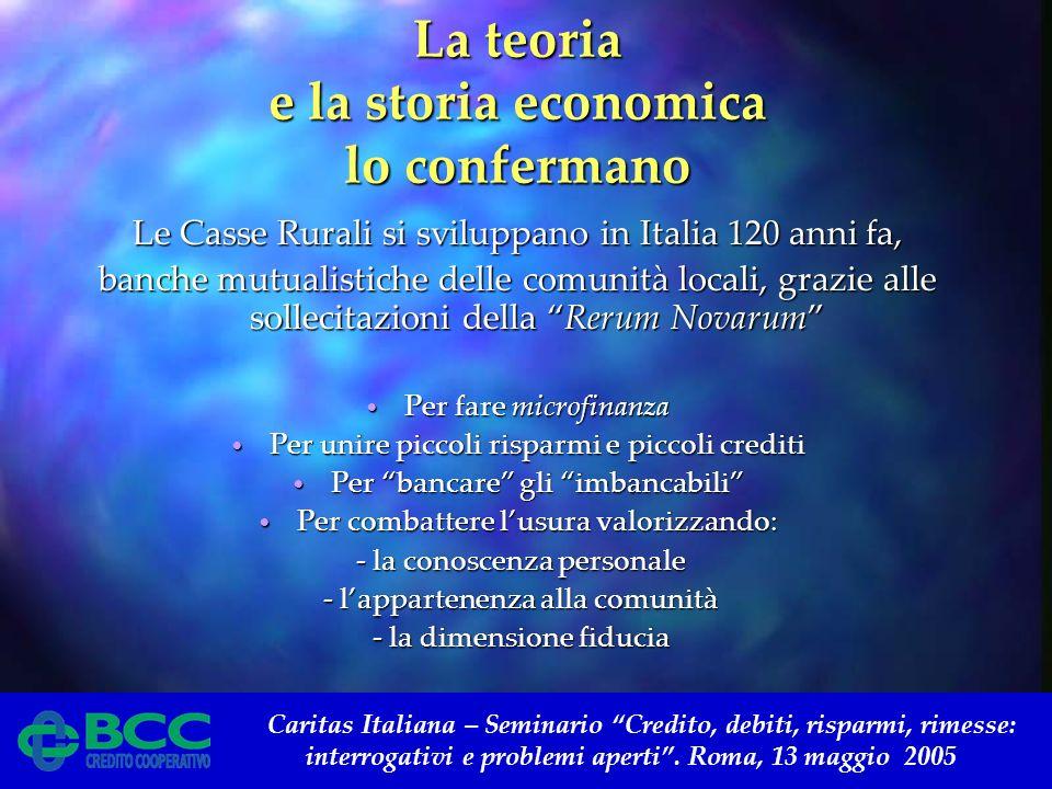 Caritas Italiana – Seminario Credito, debiti, risparmi, rimesse: interrogativi e problemi aperti. Roma, 13 maggio 2005 La teoria e la storia economica