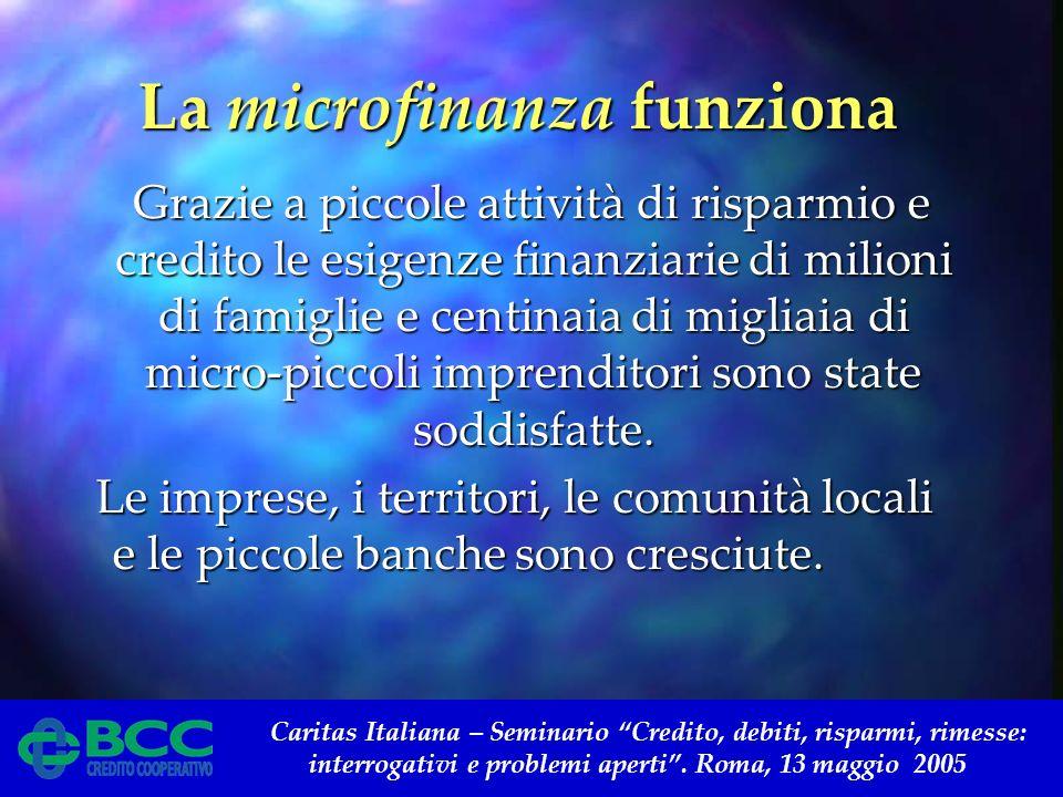 Caritas Italiana – Seminario Credito, debiti, risparmi, rimesse: interrogativi e problemi aperti. Roma, 13 maggio 2005 La microfinanza funziona La mic