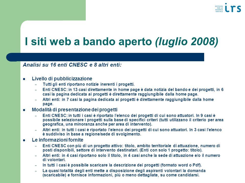 I siti web a bando aperto (luglio 2008) Analisi su 16 enti CNESC e 8 altri enti: Livello di pubblicizzazione – Tutti gli enti riportano notizie inerenti i progetti.