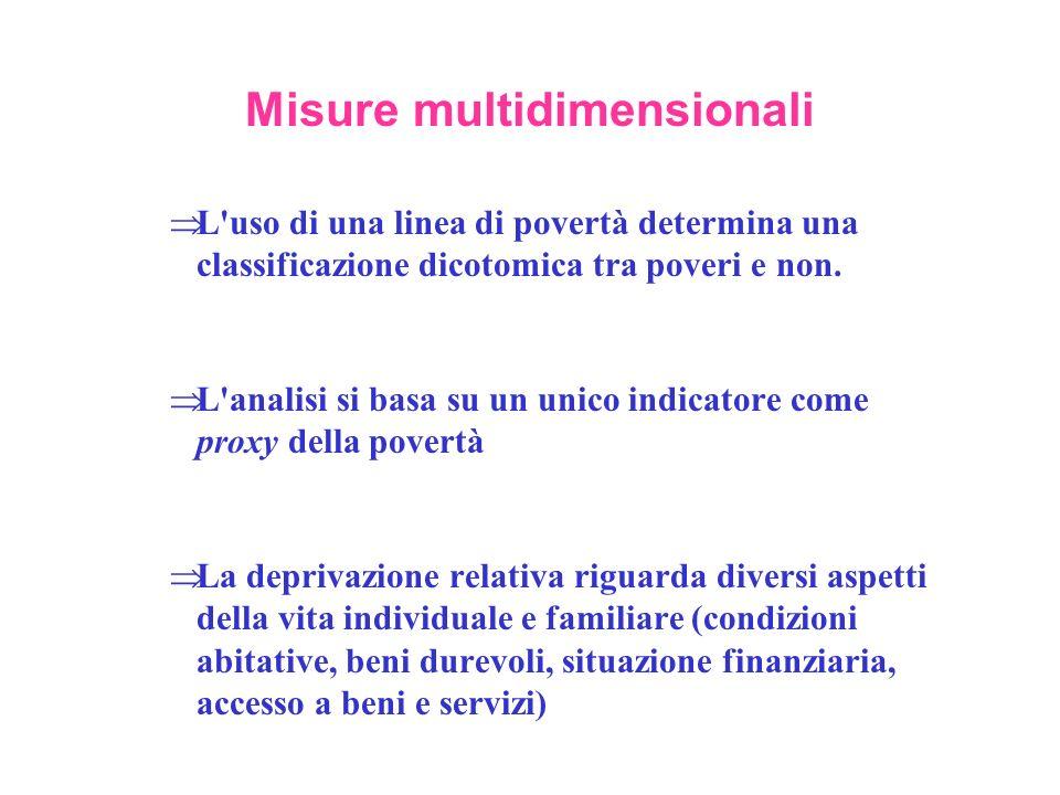 Misure multidimensionali L'uso di una linea di povertà determina una classificazione dicotomica tra poveri e non. L'analisi si basa su un unico indica