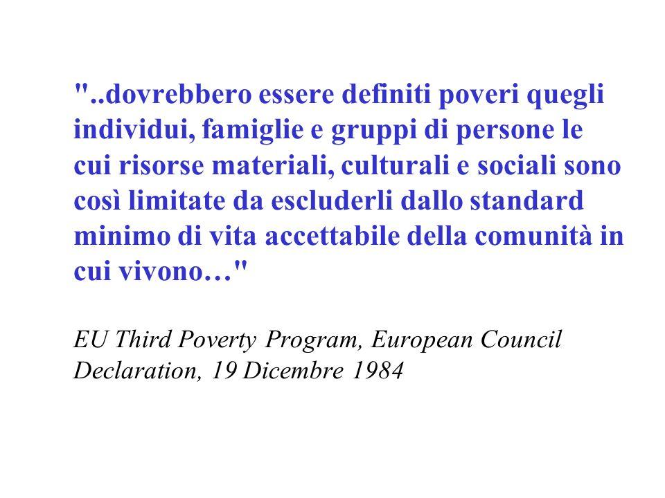 Concetto di povertà: