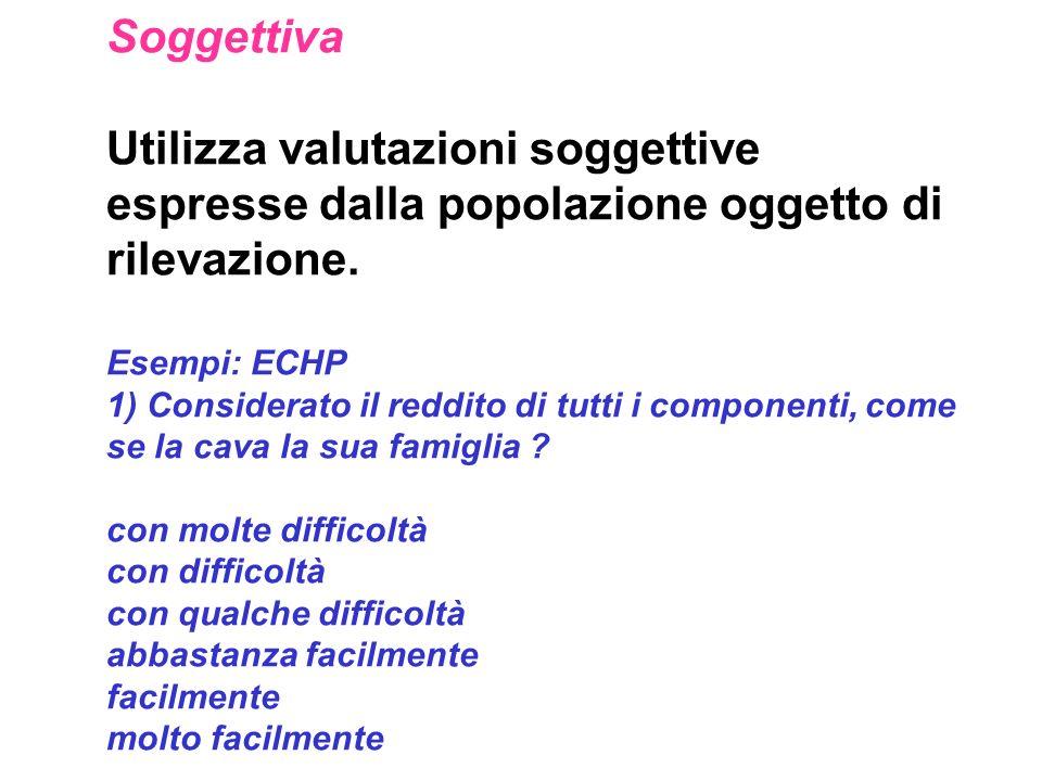 Soggettiva Utilizza valutazioni soggettive espresse dalla popolazione oggetto di rilevazione. Esempi: ECHP 1) Considerato il reddito di tutti i compon