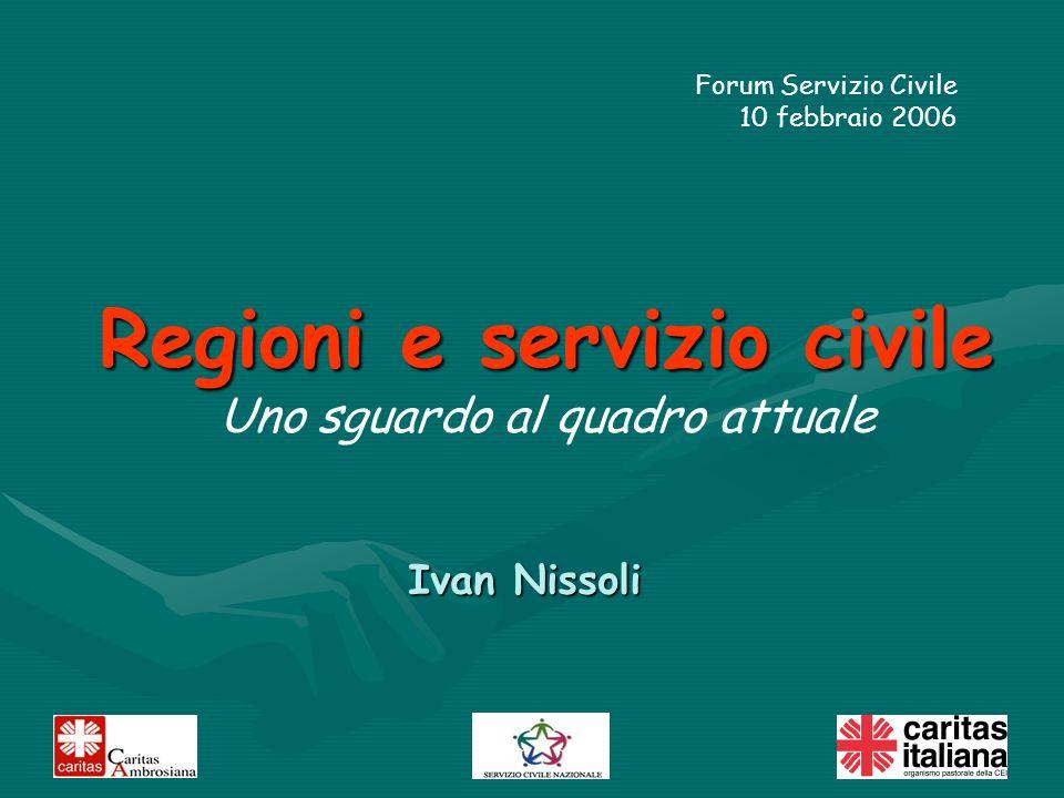 Ivan Nissoli Regioni e servizio civile Uno sguardo al quadro attuale Forum Servizio Civile 10 febbraio 2006