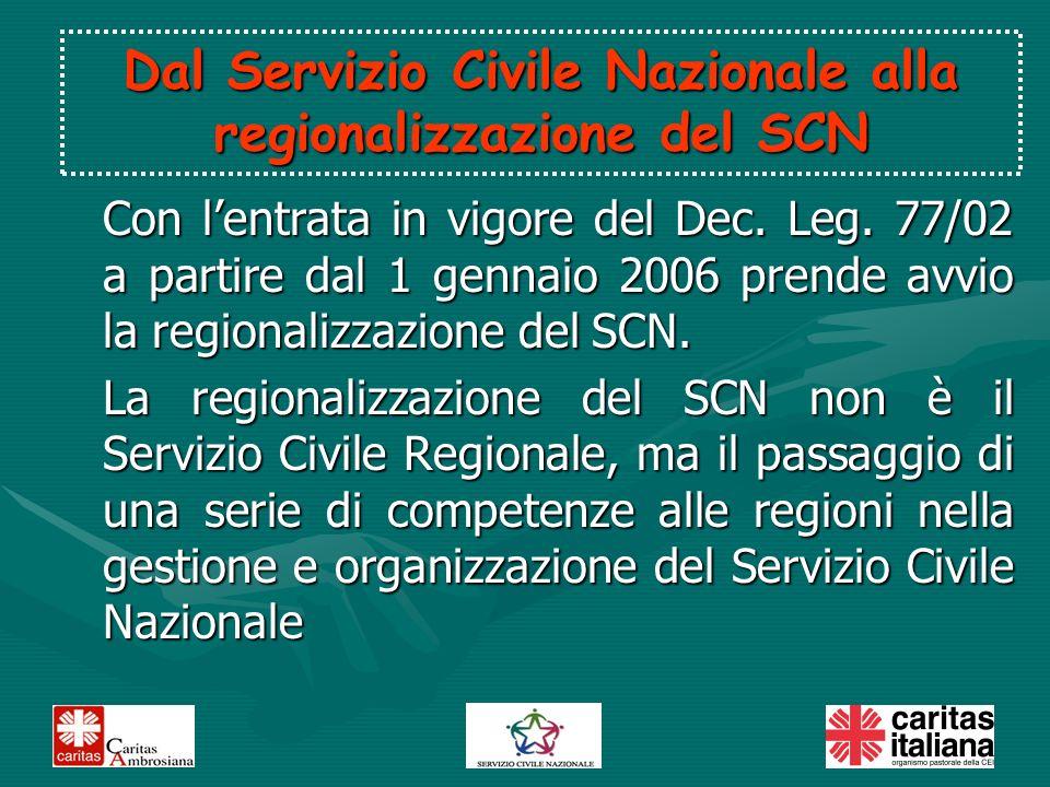 Con lentrata in vigore del Dec. Leg. 77/02 a partire dal 1 gennaio 2006 prende avvio la regionalizzazione del SCN. La regionalizzazione del SCN non è