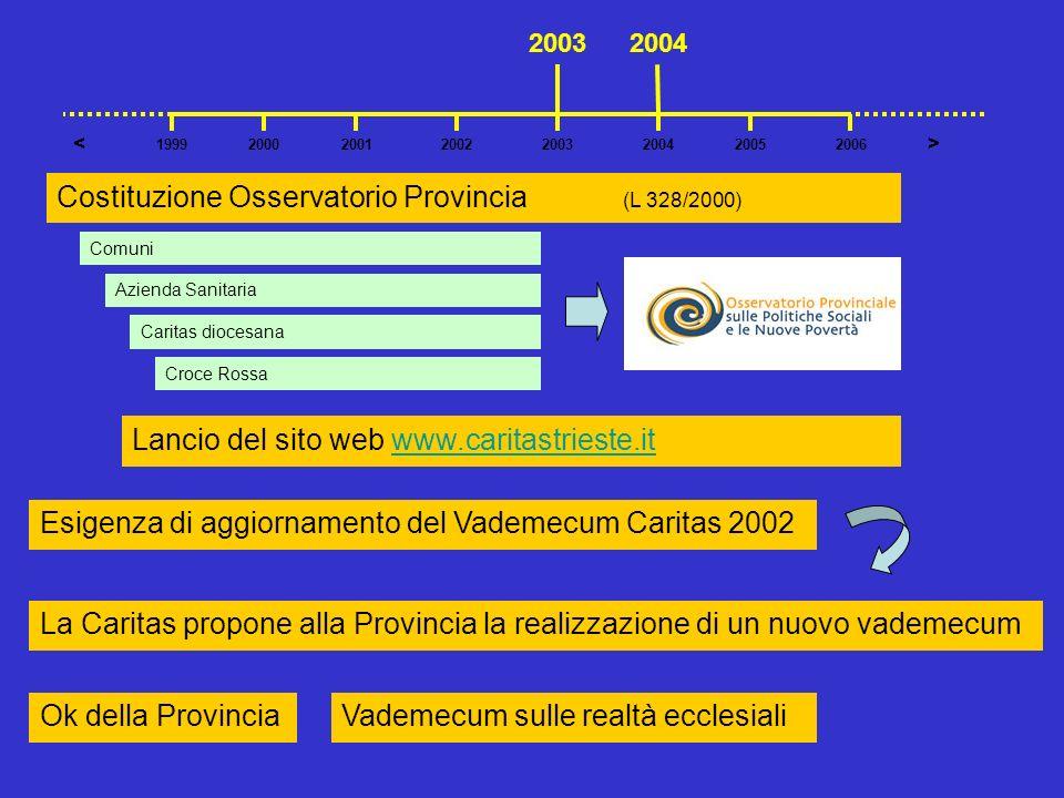 Costituzione Osservatorio Provincia (L 328/2000) Lancio del sito web www.caritastrieste.itwww.caritastrieste.it Esigenza di aggiornamento del Vademecu