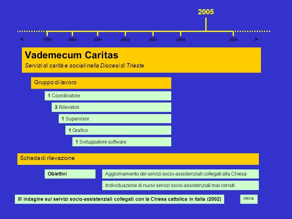 Vademecum Caritas Servizi di carità e sociali nella Diocesi di Trieste 2001200220042003 >< 199920062000 2005 Gruppo di lavoro 1 Coordinatore 3 Rilevat