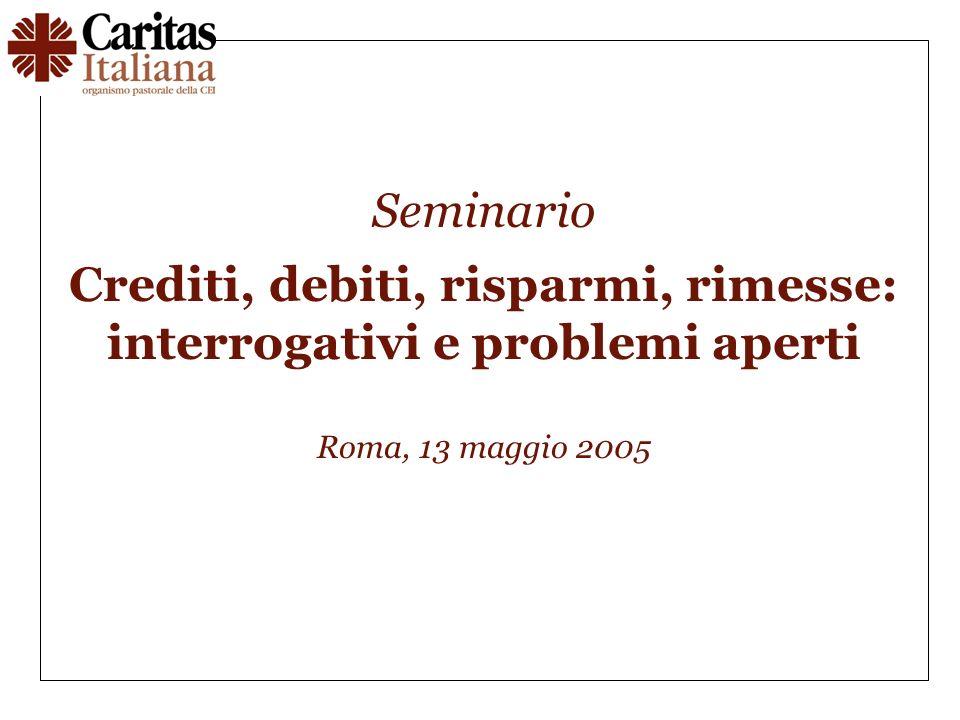 Seminario Crediti, debiti, risparmi, rimesse: interrogativi e problemi aperti Roma, 13 maggio 2005
