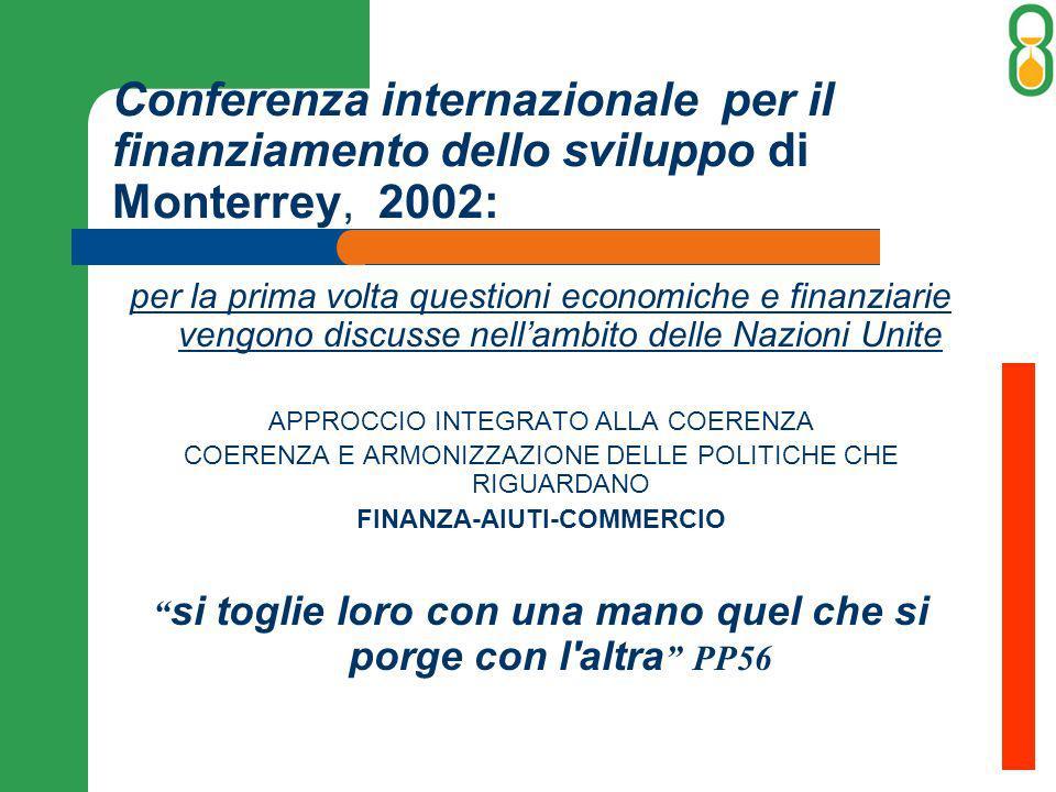 Conferenza internazionale per il finanziamento dello sviluppo di Monterrey, 2002: per la prima volta questioni economiche e finanziarie vengono discus