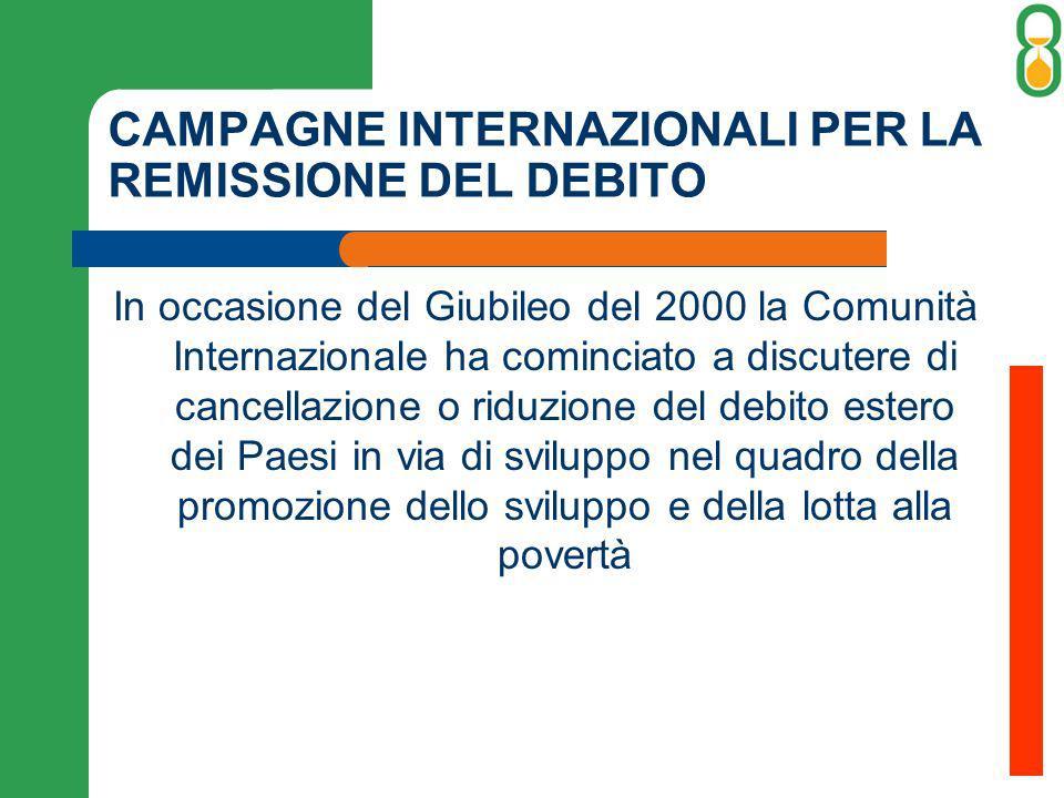 CAMPAGNE INTERNAZIONALI PER LA REMISSIONE DEL DEBITO In occasione del Giubileo del 2000 la Comunità Internazionale ha cominciato a discutere di cancellazione o riduzione del debito estero dei Paesi in via di sviluppo nel quadro della promozione dello sviluppo e della lotta alla povertà
